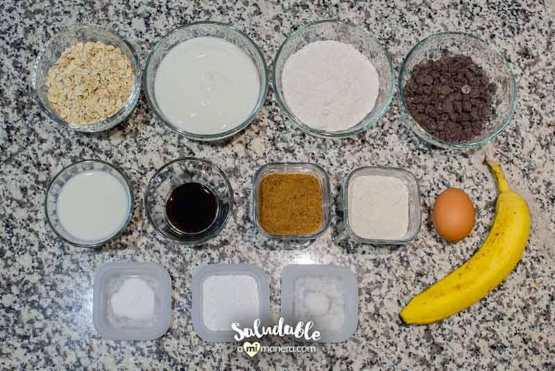 Ingredientes para muffins de banana