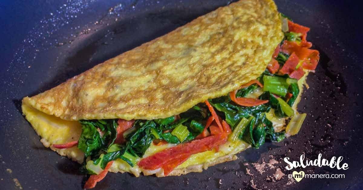 Omelet Con Tocino De Pavo Y Espinacas