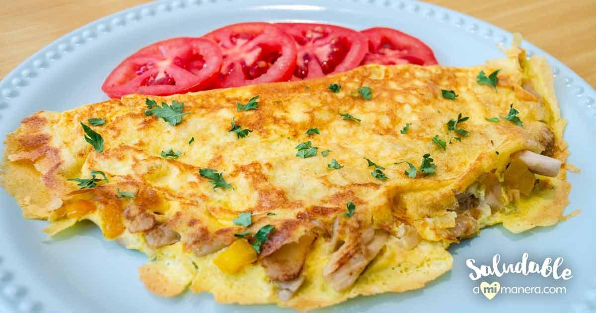 Omelet De Pimientos Setas Y Cebolla Cambray
