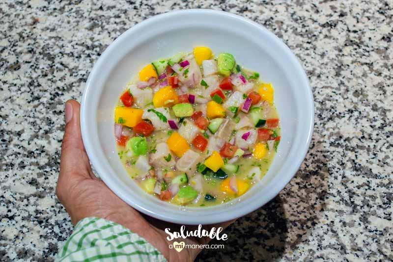 Ceviche de pescado y mango