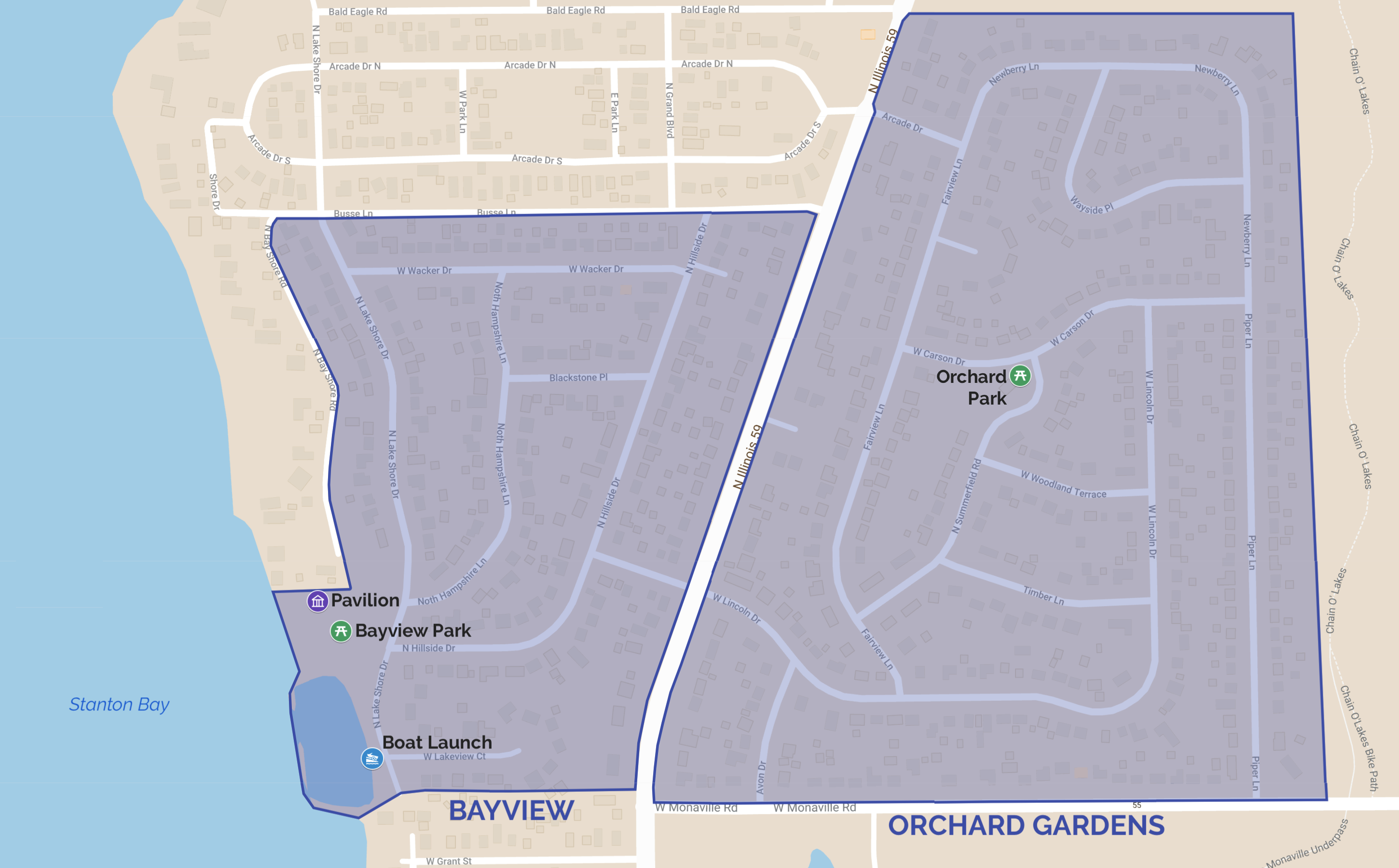 Bayview and Orchard Gardens Map