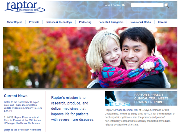 Raptor Pharma Website Redesign