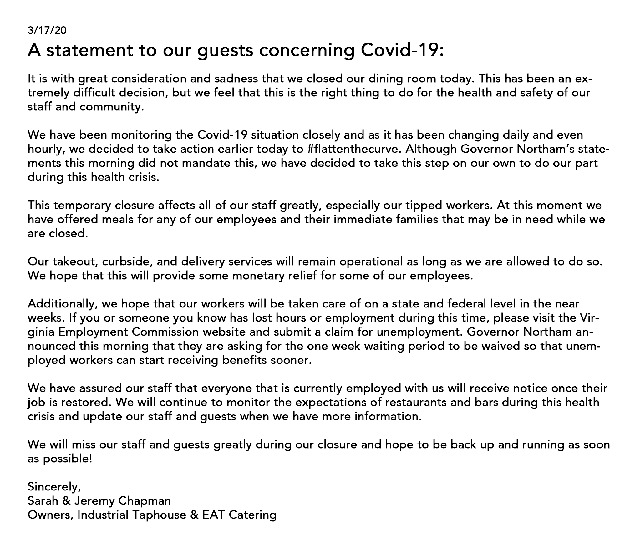 covid19 website statement 2