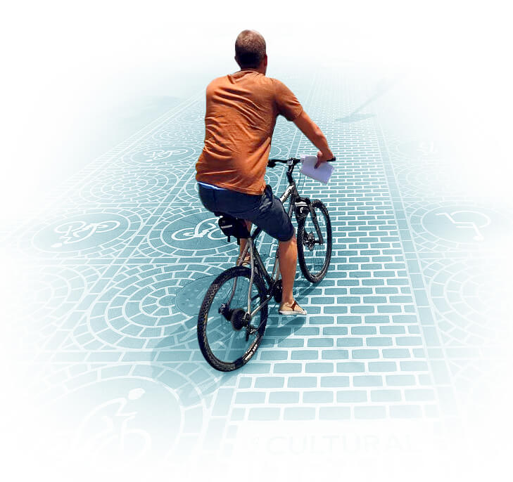 Man riding bike on the Cultural Trail - Indianapolis Indiana