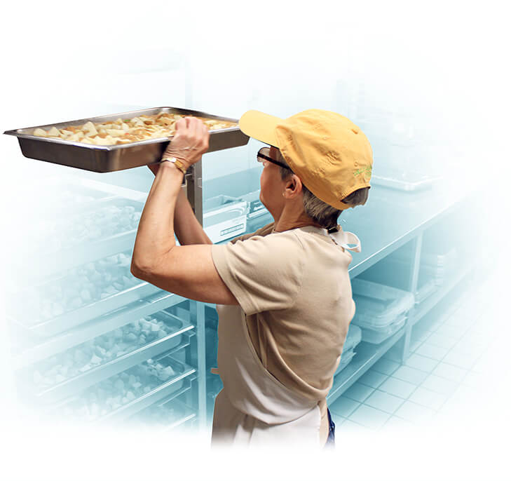 Woman volunteering in kitchen