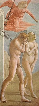 Masaccio, Cacciata dal Paradiso terrestre, 1424-25, Cappella Brancacci (Chiesa di Santa Maria del Carmine, Firenze)