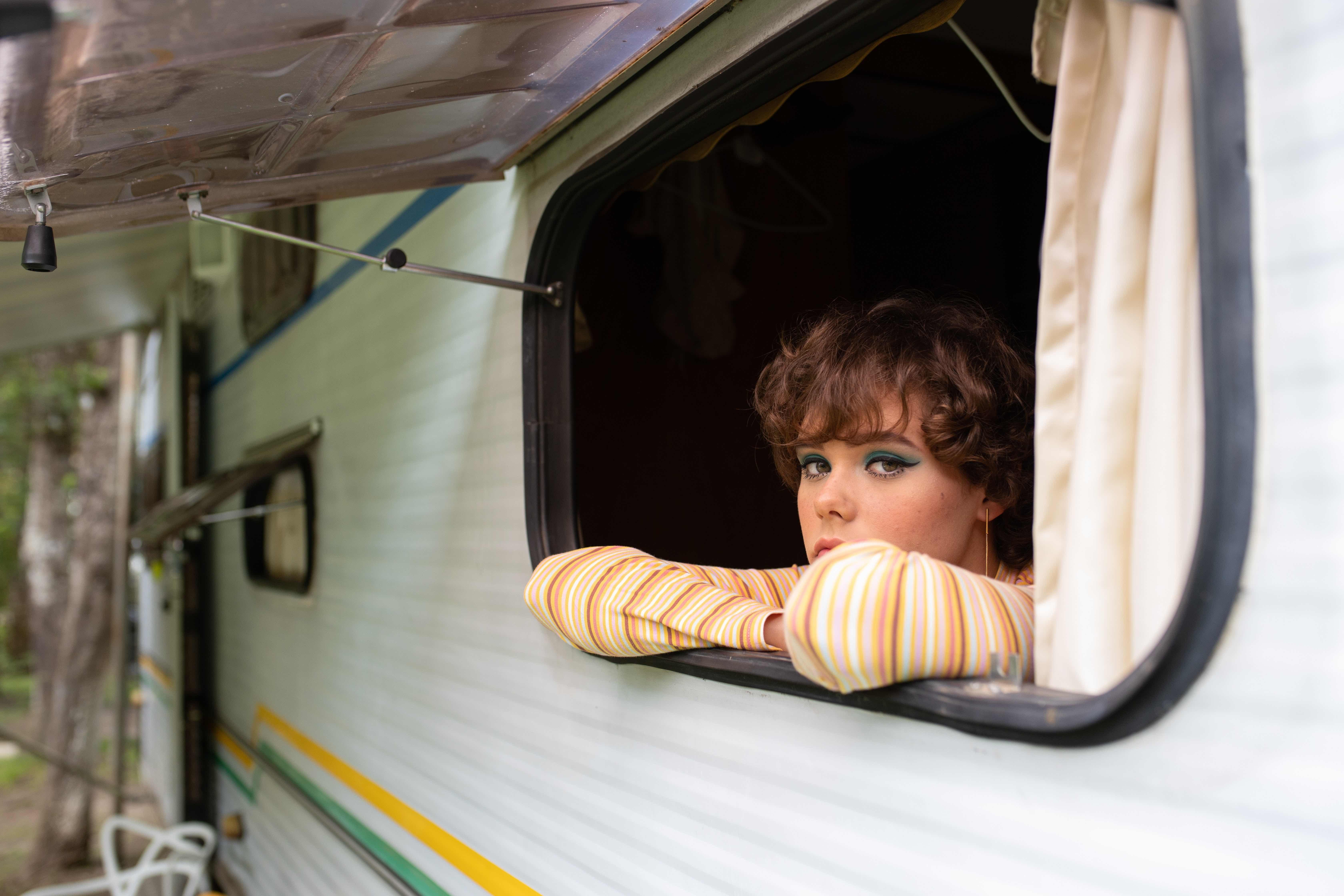 A girl in a camper van