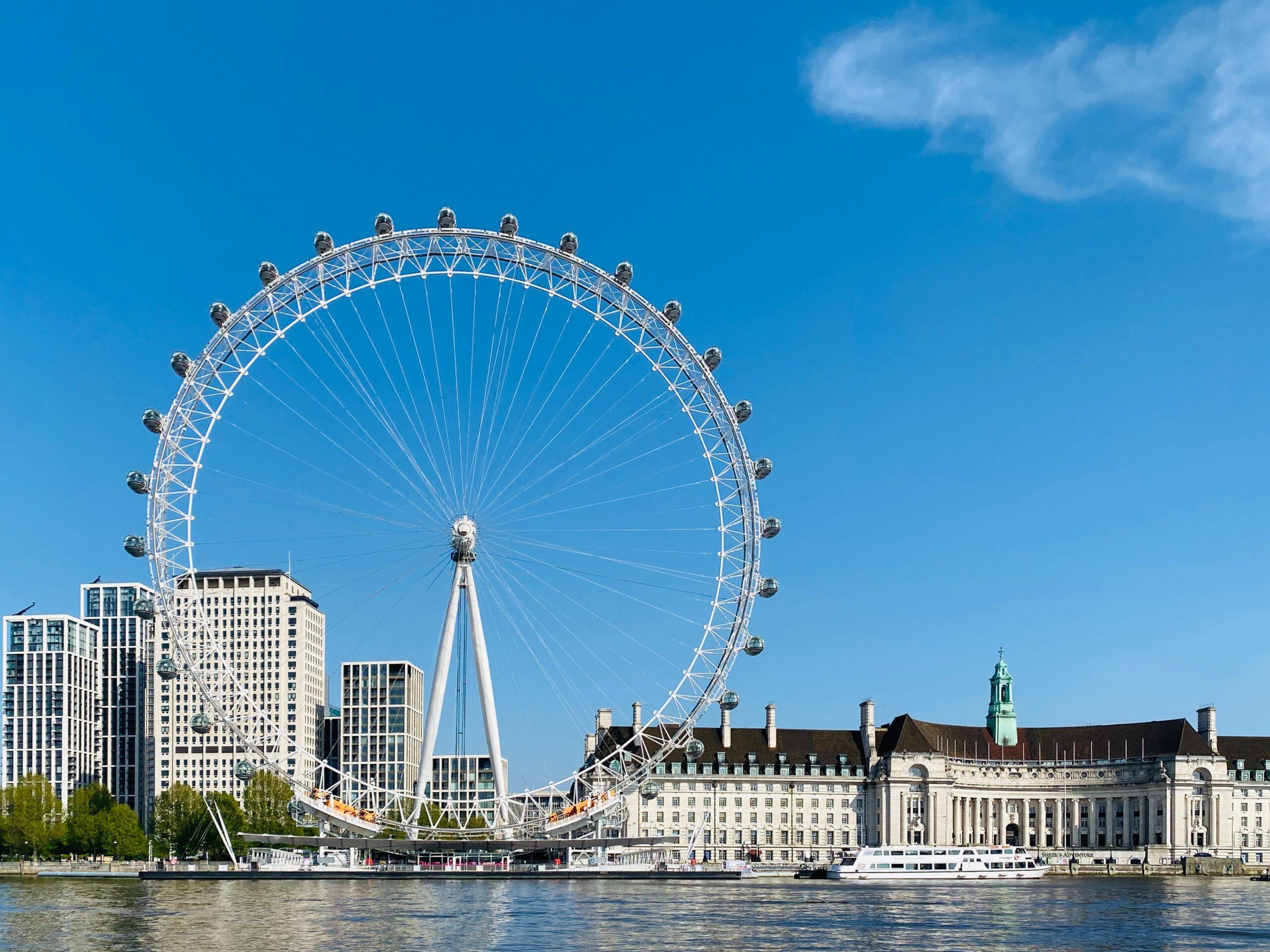 Victoria Embankment Londra vista del London Eye stazione metropolitana con la voce di Oswald Laurence