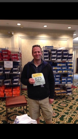 Phil Gaffey showing off his Baystate Marathon bib!