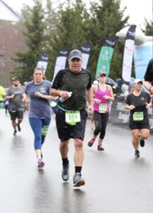 Bob at the finish line of the Stoneyfield 5K