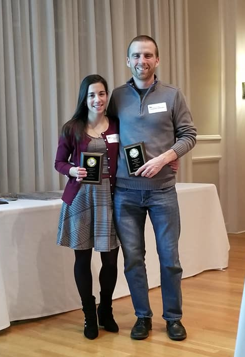 Amanda & Brandyn accepting awards at the Annual Awards Dinner in January 2020