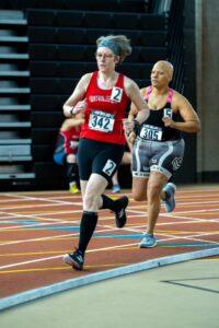 Tara representing the GCS at the 2020 USATF NE Masters Indoor Track & Field 400 meters