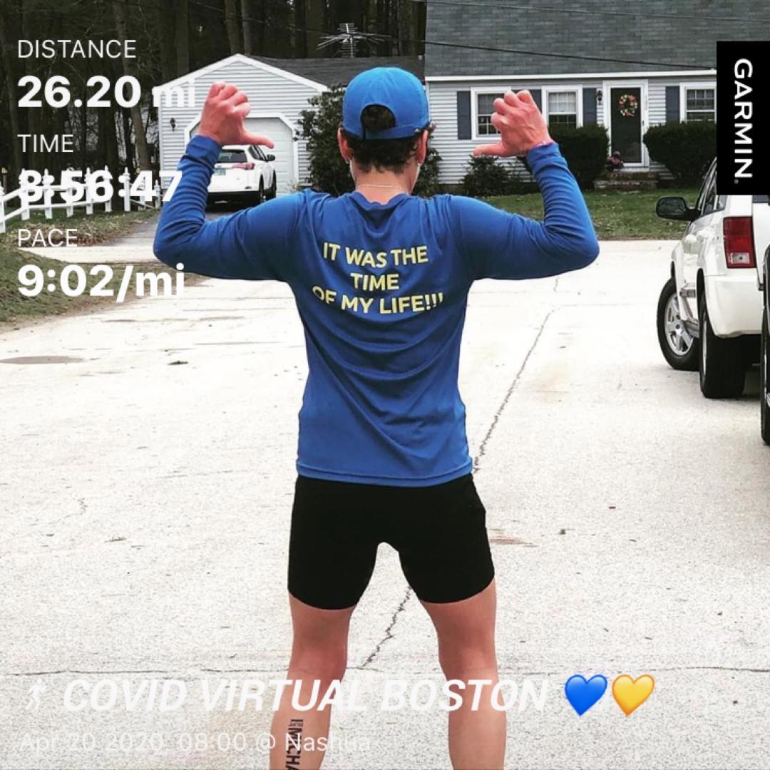 Amanda McCann finishing her April 20th 2020 Boston Marathon run