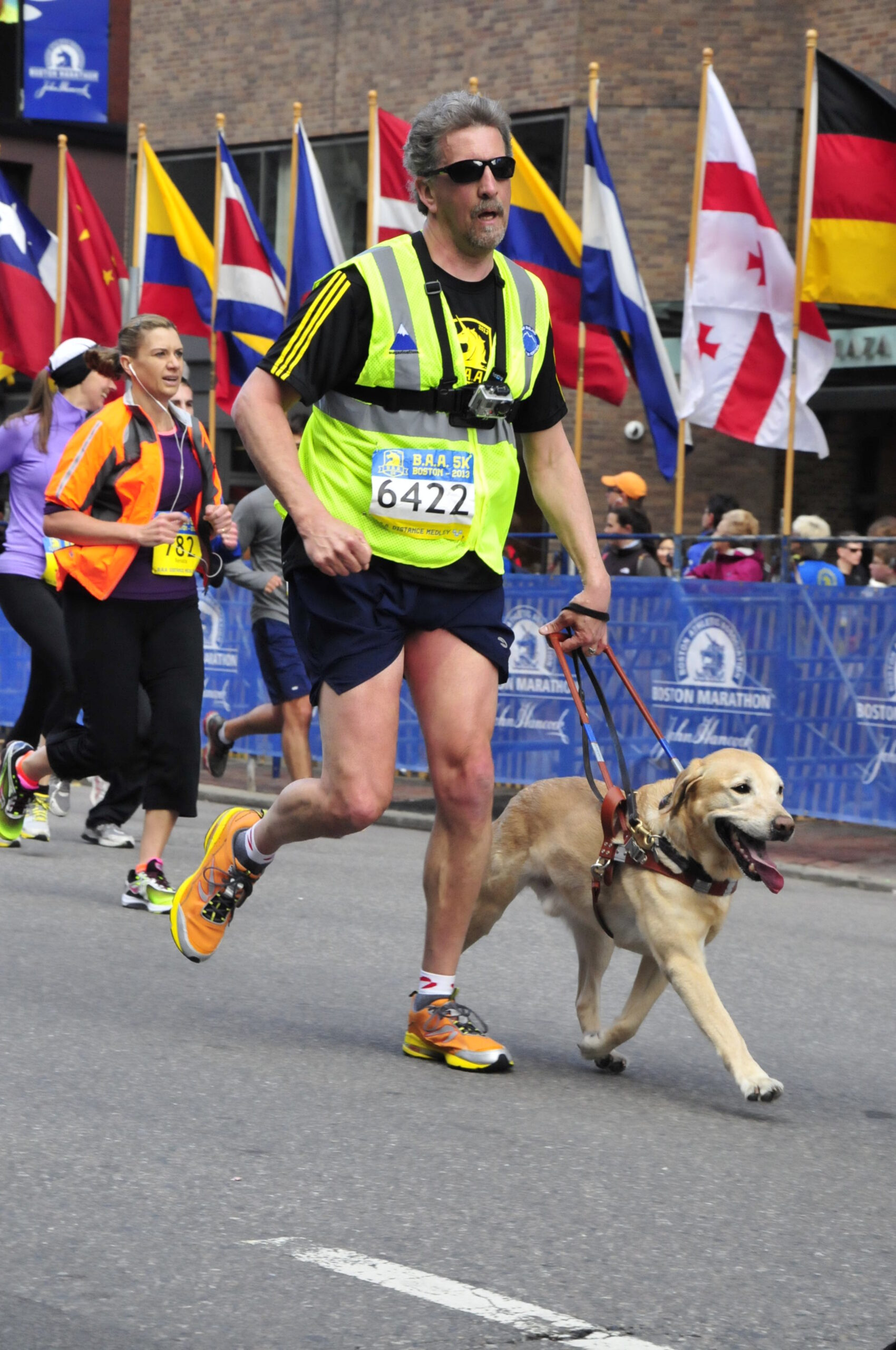 Randy Pierce and the Mighty Quinn at the 2013 BAA 5k Finish!