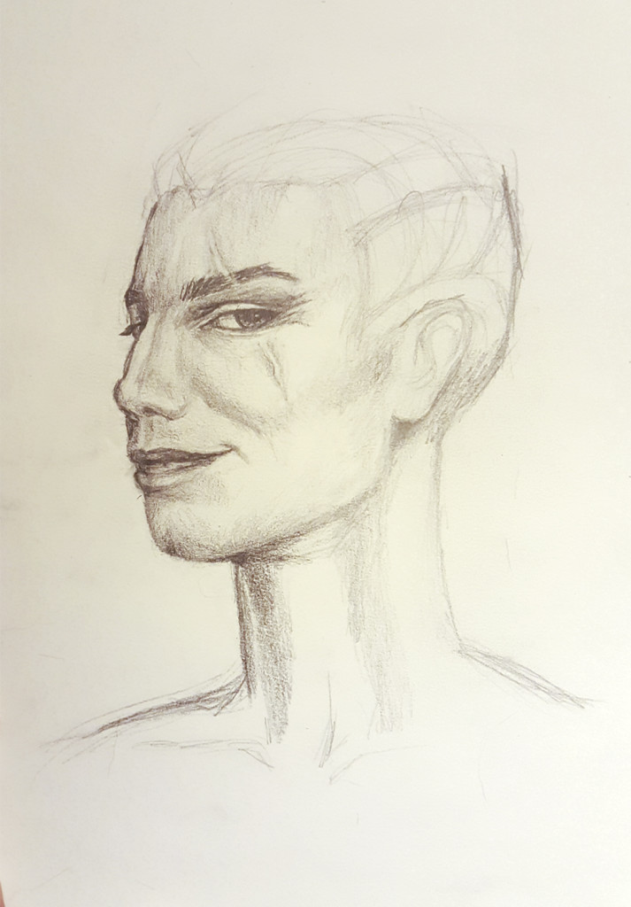 Kadrian Ayzhus pencil sketch progress part 2
