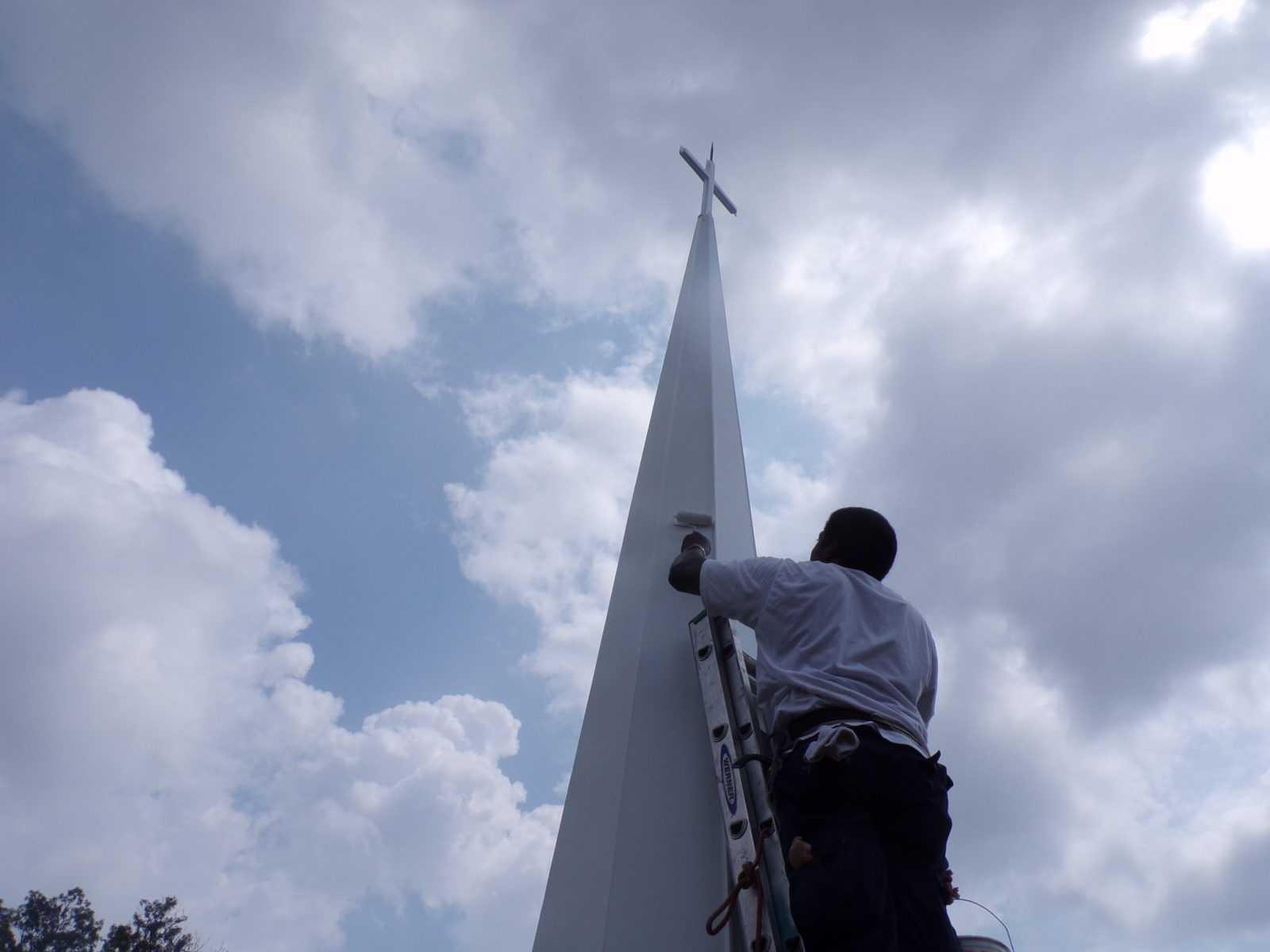 Painting fiberglass steeple