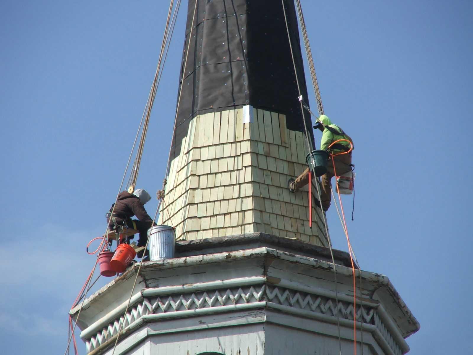 Installing wood shakes to steeple