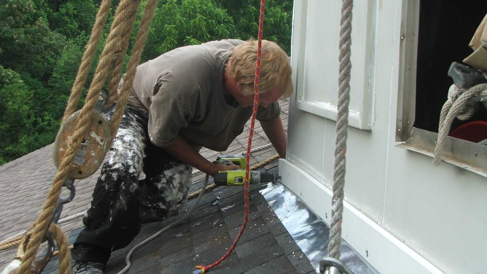 Replacing leaking steeple flashing