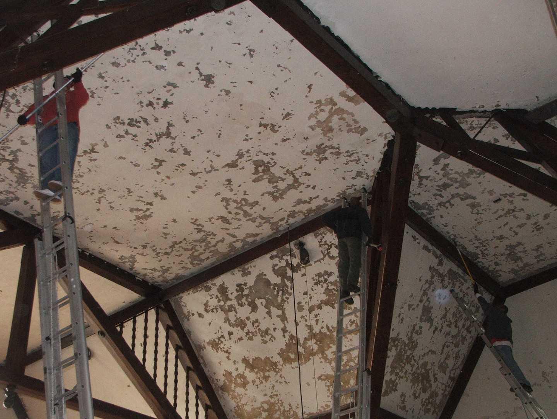Prepairing sanctuary ceiling