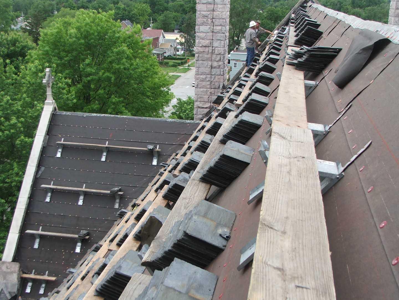 Installing slate church roof