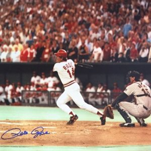 Pete Rose Autographed 16×20 Photo – Record Breaking Hit