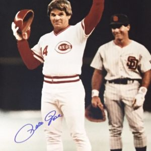 Pete Rose Autographed 16×20 Photo Passing Cobb