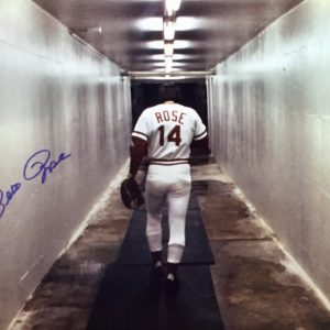 Pete Rose Autographed 16×20 Photo Walking Away