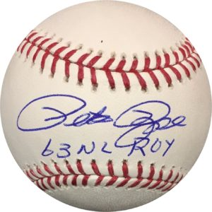 "Pete Rose Autographed Baseball Reds ""63 ROY"" OMLB Pete Rose Authentication"