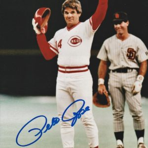 Pete Rose Autographed 8×10 Photo Passing Cobb