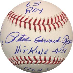 Pete Rose Autographed Baseball MLB STATS OMLB Pete Rose Authentication