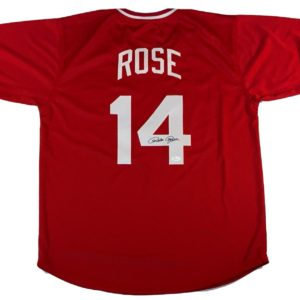 Pete Rose Autographed Red Jersey Pete Rose Authentication