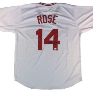 Pete Rose Autographed White Jersey Pete Rose Authenticated