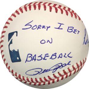 Pete Rose & Robert Manfred Sorry I Bet On Baseball Dual Signed Baseball