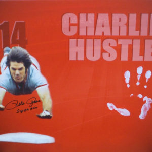 Pete Rose HAND PRINT 31×21 Canvas – Head First Slide