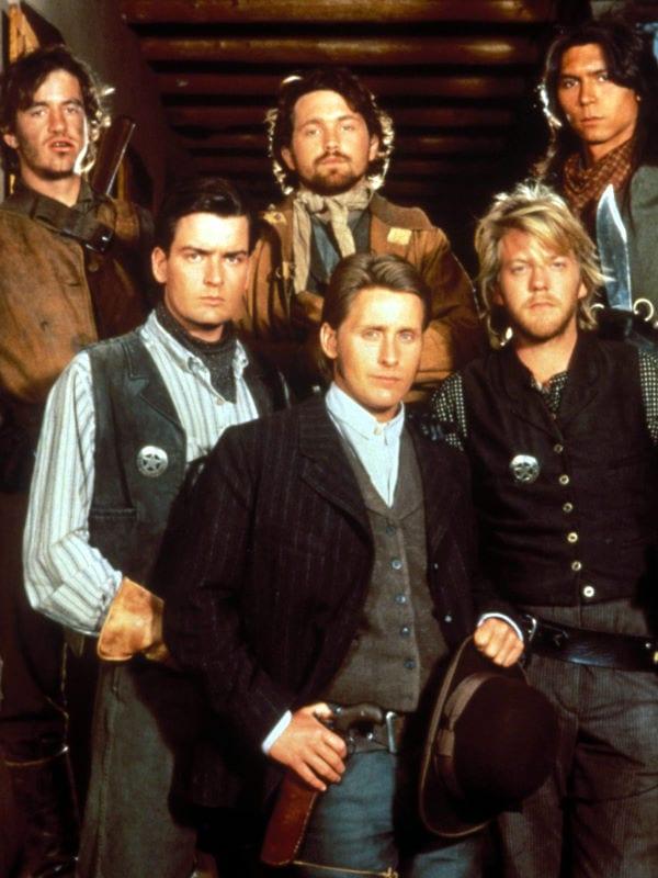 Young Guns cast Emilio Estevez, Charlie Sheen, Kiefer Sutherland, Casey Siemaskzo, Charlie Sheen, Dermot Mulroney, Lou Diamond Phillips
