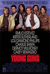 movie poster Young Guns Emilio Estevez Kiefer Sutherland Lou Diamond Phillips Charlie Sheen Dermot Mulroney Casey Siemaszko
