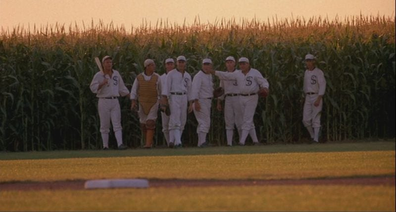 Shoeless Joe and the other eight suspended Black Sox ghost players in FIELD OF DREAMS.