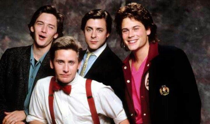 Andrew McCarthy, Emilio Estevez, Judd Nelson and Rob Lowe in ST ELMO'S FIRE
