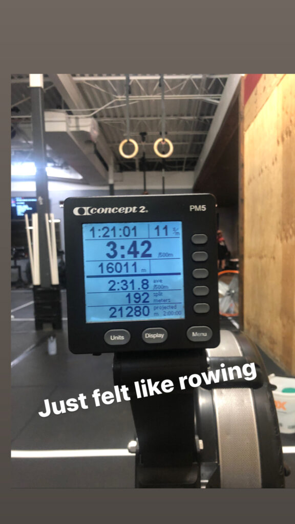 Rowing 16,000 one day. Felt like rowing at CrossFit row for an hour