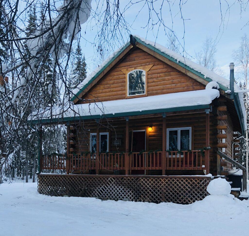 Cabin in Fairbanks Alaska in Snow