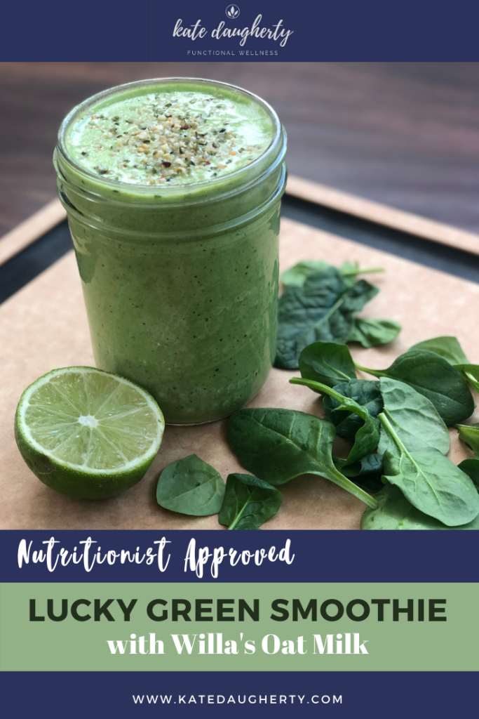 Nutritionist Approved Lucky Green Smoothie with Willa's Oat Milk
