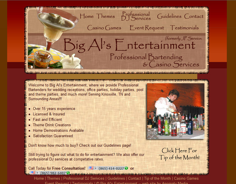Big Als (bartending service) Website Design