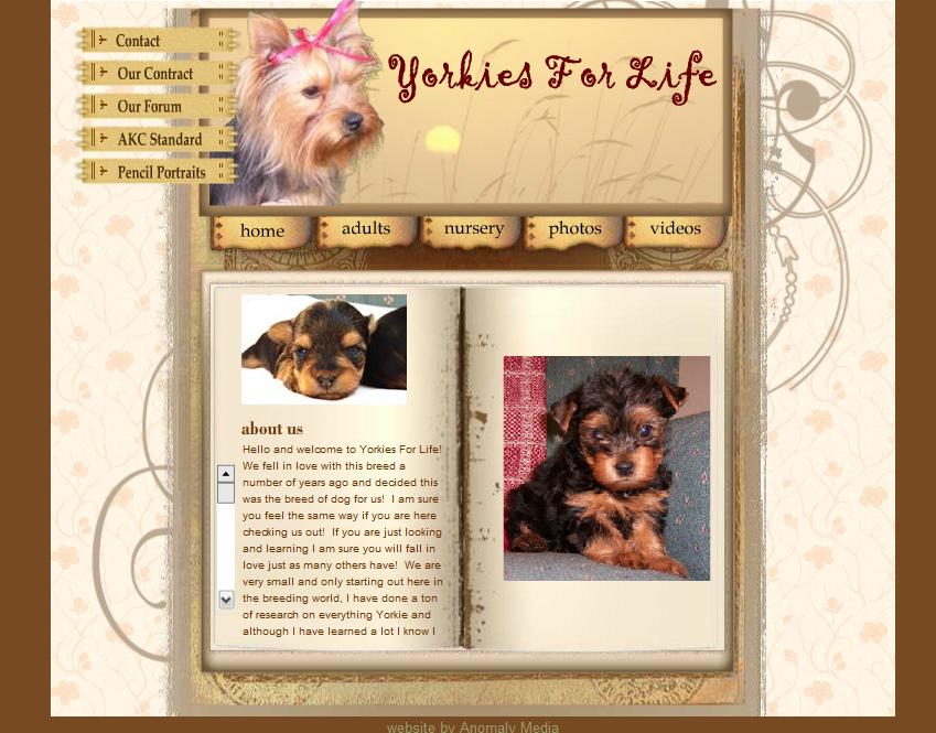 Yorkies For Life (dog breeder) Website Design