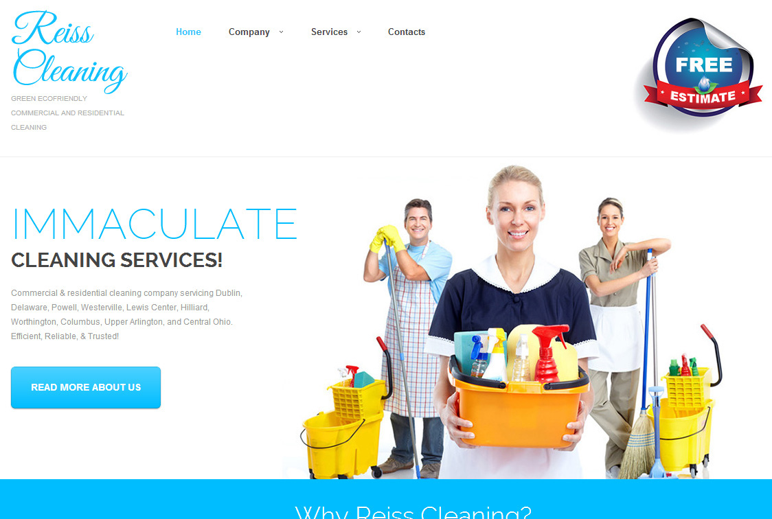 WordPress Website design for Reiss Cleaning