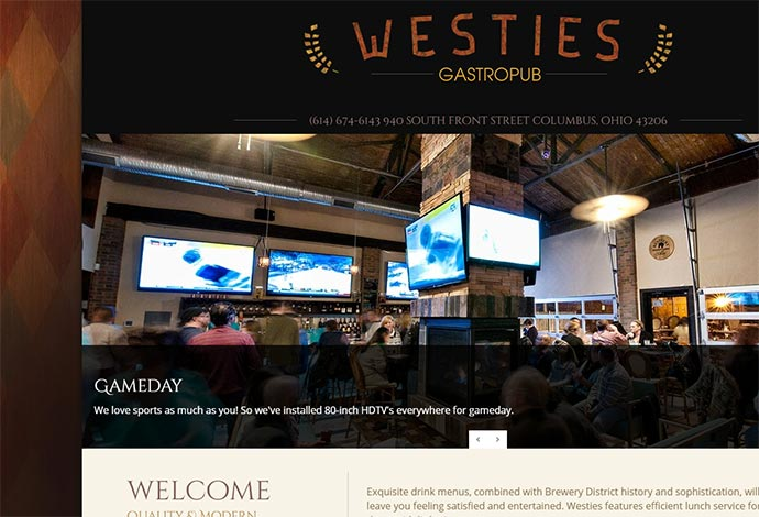 WordPress Website Design for Columbus Restaurant Bar Pub