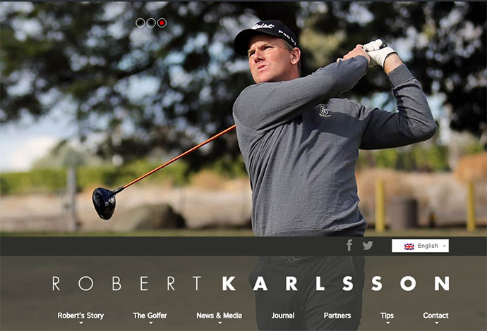 Multilingual WordPress Website Design for Pro Golfer, Robert Karlsson