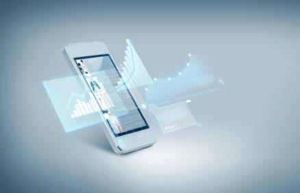 Mobile Cellular Phone Displaying Analytics