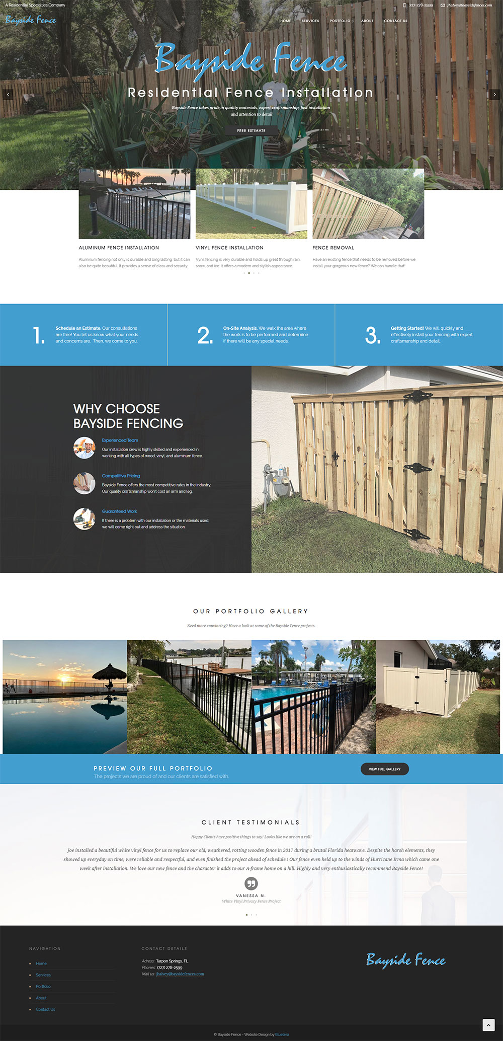 Website Design for Florida Residential Fence Installer