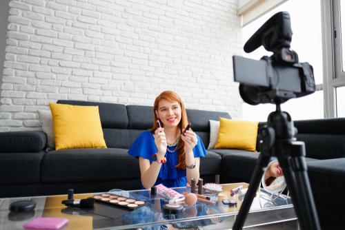 influencer marketer in front of camera