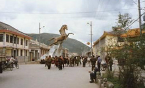 Wangyal, a Tibetan in his twenties, set fire to himself in 2012 at this location in Serthar county town, near the golden horse statue.